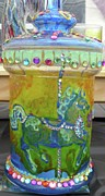 Animals Glass Art Framed Prints - Carosel Horses Framed Print by Heather  Whitney