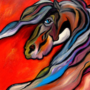 Wine Deco Art Prints - Carousel - Abstract Horse Art by Fidostudio Print by Tom Fedro - Fidostudio