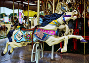 Amusement Ride Framed Prints - Carousel - Horse - Jumping Framed Print by Paul Ward