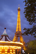 Strobe Art - Carousel and Eiffel Tower by Brian Jannsen