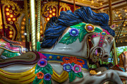 Carousel Horse Prints - Carousel Beauty Careful I Bight Print by Bob Christopher
