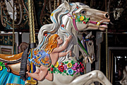 Round Photo Prints - Carousel horse and angel Print by Garry Gay