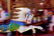 Fair Photo Posters - Carousel horse in motion Poster by Garry Gay