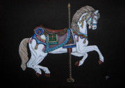 Pole Drawings Metal Prints - Carousel Horse Metal Print by Yvonne Johnstone