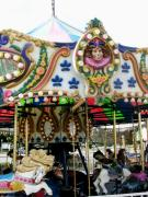Colorful Photos Pyrography Posters - Carousel Horses Poster by Fareeha Khawaja