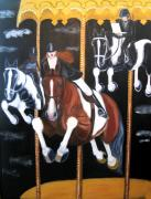 Carousel Art Painting Originals - Carousel in Crisis by Lynda Mason