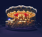 Nighttime Posters - Carousel in Paris Poster by Elena Elisseeva