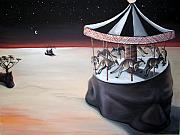 Kangaroo Paintings - Carousel In The Head by Charlotte Oedekoven