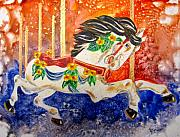 Carousel Horse Painting Framed Prints - Carousel Framed Print by Marsha Elliott
