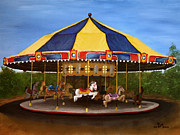 Rides Painting Originals - Carousel by RMDee Riggs