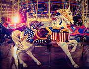 Fourth Of July Art Prints - Carousel Spirit Print by Sonja Quintero