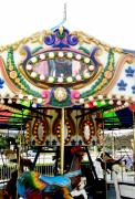 Colorful Photos Pyrography Prints - Carousel- Springfield Days Festival Print by Fareeha Khawaja