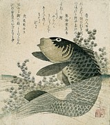Poetry Paintings - Carp among pond plants by Ryuryukyo Shinsai