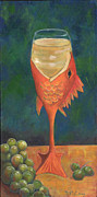 Wine And Art Posters - Carp Chardonnay Poster by Debbie McCulley