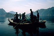 Chinese People Prints - Carp Fishermen In Lake Formed By A Dam Print by Michael S. Yamashita