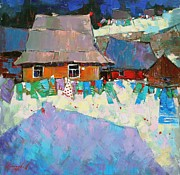 Rural Life Painting Framed Prints - Carpathian Assorted Framed Print by Anastasija Kraineva