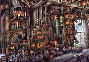 Tool Acrylic Prints - Carpenter - Thats a lot of tools  Acrylic Print by Mike Savad