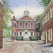 Philadelphia Painting Prints - Carpenters Hall Print by Keith Mountford