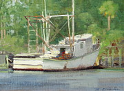 Water Scenes Painting Prints - Carrabelle Derelict Print by Mitch Kolbe