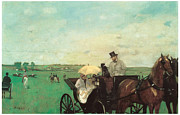 Carriage Horses Paintings - Carriage at the Races by Edgar Degas
