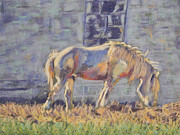 Barn Door Pastels Posters - Carriage Horse Poster by Gina Ward