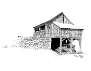 Drawings Of Barns Framed Prints - Carriage House Framed Print by Donald Black