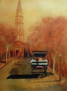 Monotone Paintings - Carriage Ride on Church St in Charleston SC by Rosie Phillips