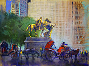 Autumn Trees Pastels Prints - Carriage Rides in NYC Print by Ylli Haruni