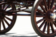 Drawn Prints - Carriage Wheels Print by Linda Knorr Shafer