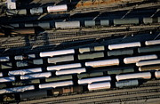 Carriages Of Freight Trains On A Commercial Railway Print by Sami Sarkis