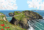 Carrick-a-rede Posters - Carrick a Rede Rope Bridge Poster by David O Reilly