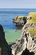 Carrick-a-rede Posters - Carrick-a-rede rope bridge Northern Ireland Poster by Pierre Leclerc