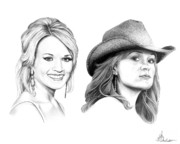 Idol Drawings - Carrie and Carrie Underwood by Murphy Elliott
