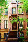Colored Pencil Framed Prints - Carrie Bradshaw Greenwich Village Brownstone Framed Print by Randy Aveille