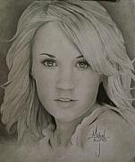 Florence Drawings Framed Prints - Carrie Underwood Drawing Framed Print by Michael Trujillo