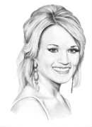 Famous People Drawings - Carrie Underwood by Murphy Elliott