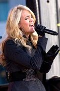 Leather Gloves Prints - Carrie Underwood On Stage For Good Print by Everett