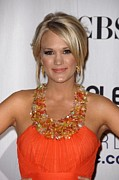 Orange Dress Prints - Carrie Underwood Wearing A Jenny Print by Everett