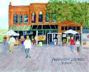 Small Towns Painting Metal Prints - Carrollton Ga. Square Metal Print by Sally Storey Jones