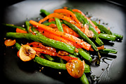 Stir Metal Prints - Carrot And Green Beans Stir Fry Metal Print by Iris Filson