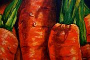 Vegetables Paintings - Carrots by Agusta Gudrun  Olafsdottir