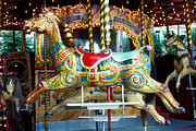 Amusement Park Prints - Carrouse horse Paris France Print by Garry Gay