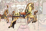 Whirligig Prints - Carrousel With Horses Print by Radoslav Nedelchev