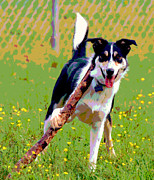 Funny Dog Mixed Media - Carry a Big Stick by Dorrie Pelzer