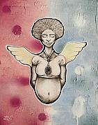 Grafitti Mixed Media - Carrying an Angel by Nathaniel Roberts
