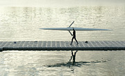Sculling Prints - Carrying Single Scull Print by Lynn Koenig