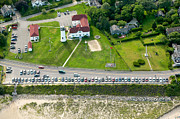 Cars Line Up At The Parking Lot At Chatham Lighthouse And Chatha Print by Matt Suess