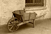 Farm Equipment Digital Art - Cart for Sale in sepia by Suzanne Gaff