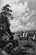 Colonial Man Prints - Cartier Ascending The St. Lawrence, 1535 Print by Photo Researchers