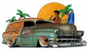 Car Pastels - Cartoon Chevy by Lyle Brown